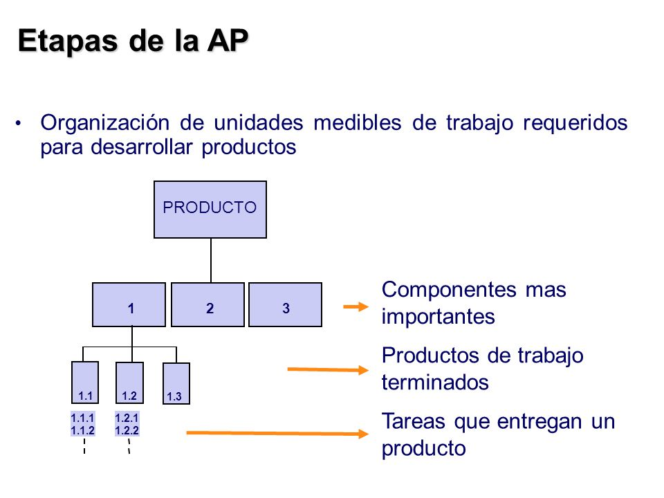Etapas de la AP Organización de unidades medibles de trabajo requeridos para desarrollar productos.