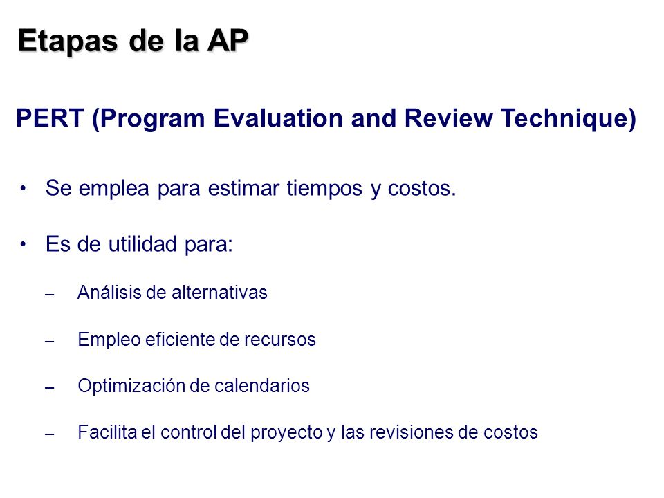 Etapas de la AP PERT (Program Evaluation and Review Technique)