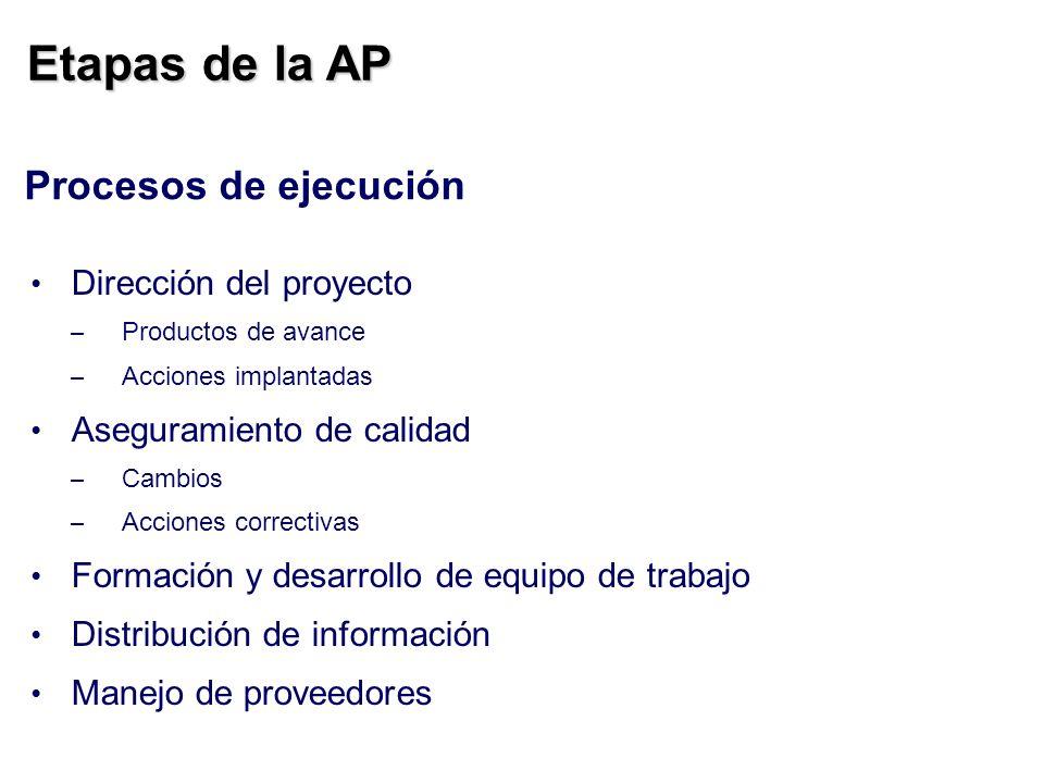 Etapas de la AP Procesos de ejecución Dirección del proyecto