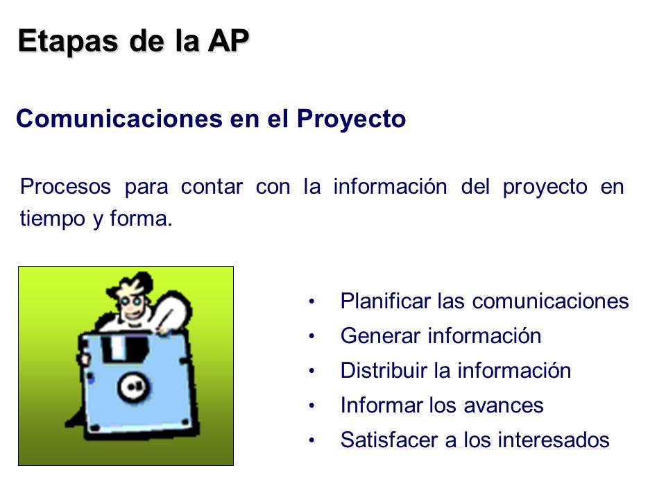 Etapas de la AP Comunicaciones en el Proyecto