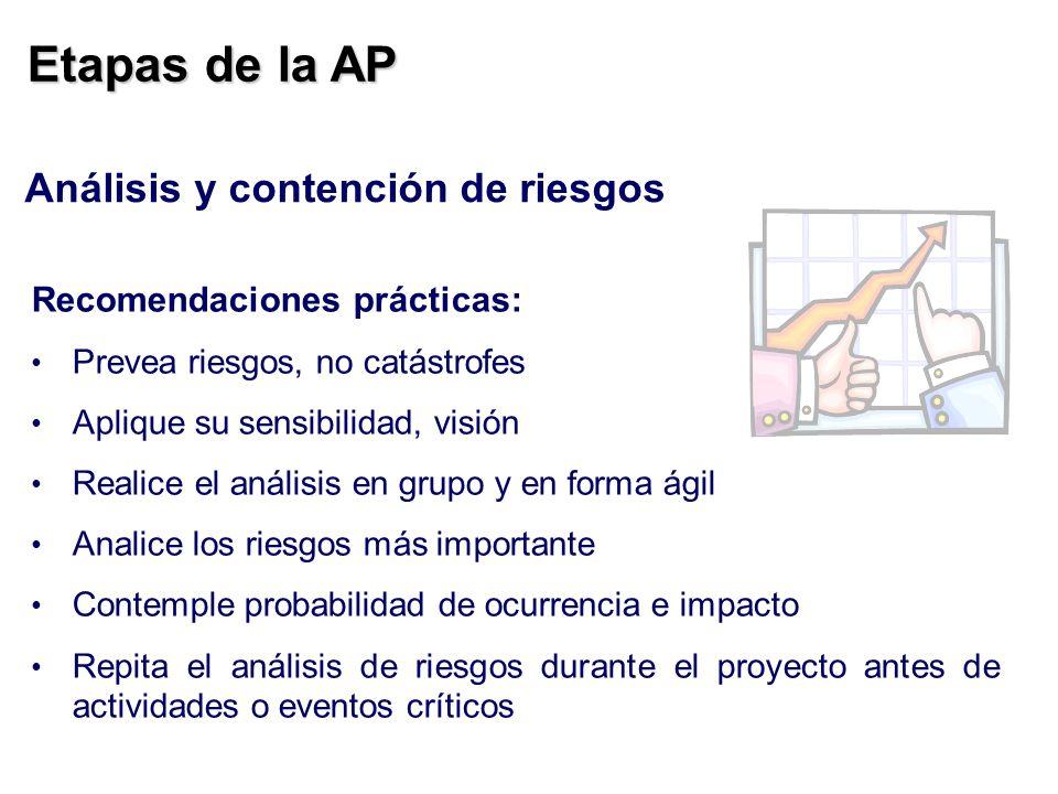 Etapas de la AP Análisis y contención de riesgos