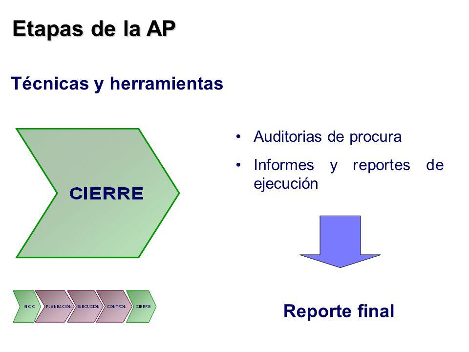 Etapas de la AP Técnicas y herramientas Reporte final