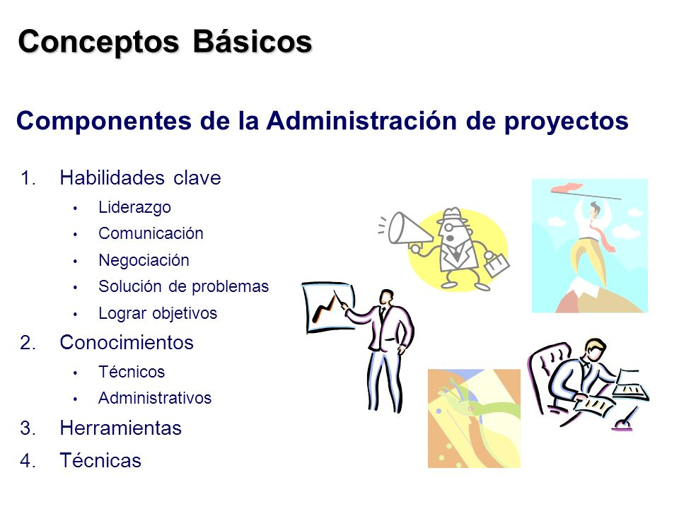 Conceptos Básicos Componentes de la Administración de proyectos