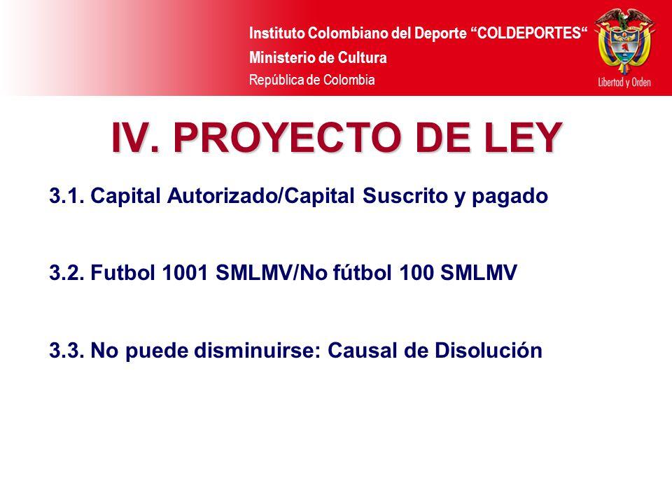 IV. PROYECTO DE LEY 3.1. Capital Autorizado/Capital Suscrito y pagado