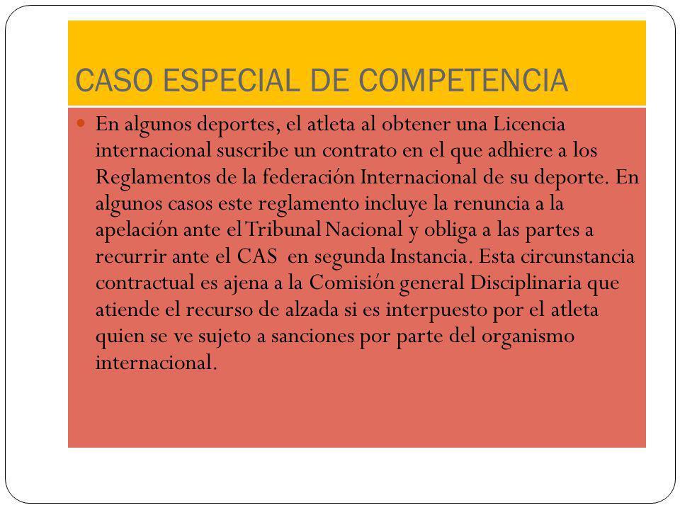 CASO ESPECIAL DE COMPETENCIA