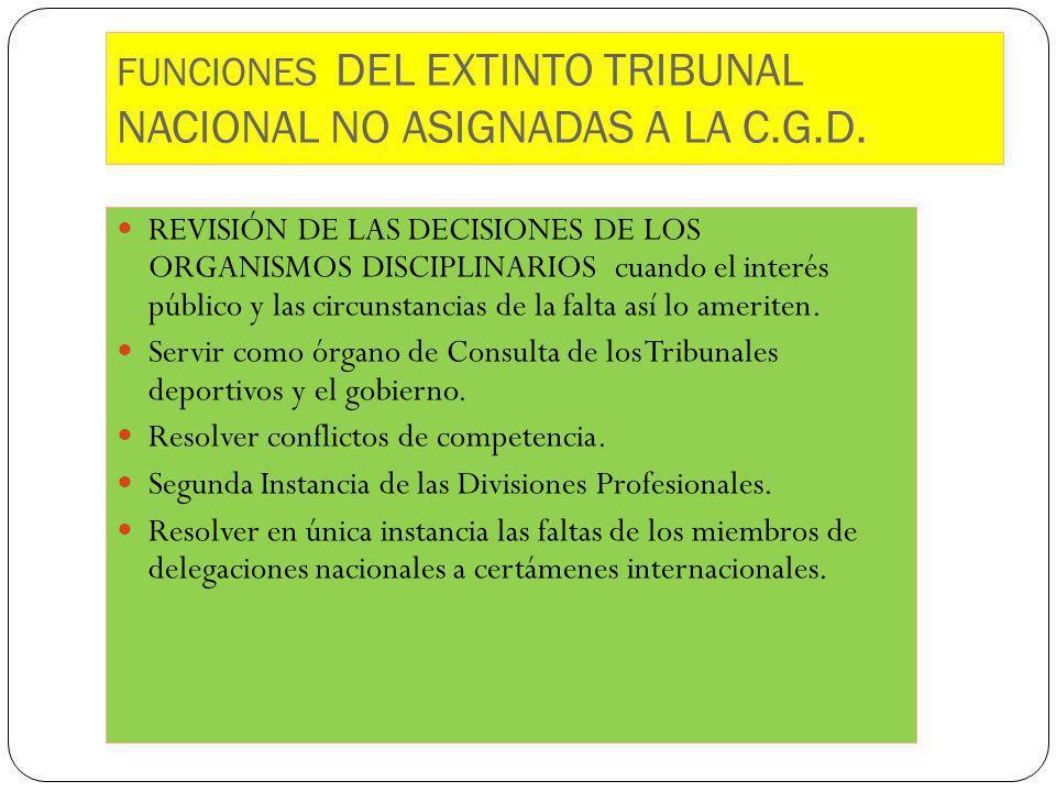 FUNCIONES DEL EXTINTO TRIBUNAL NACIONAL NO ASIGNADAS A LA C.G.D.