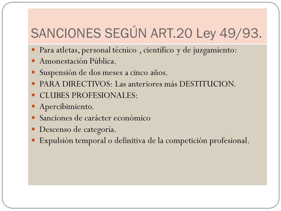 SANCIONES SEGÚN ART.20 Ley 49/93.