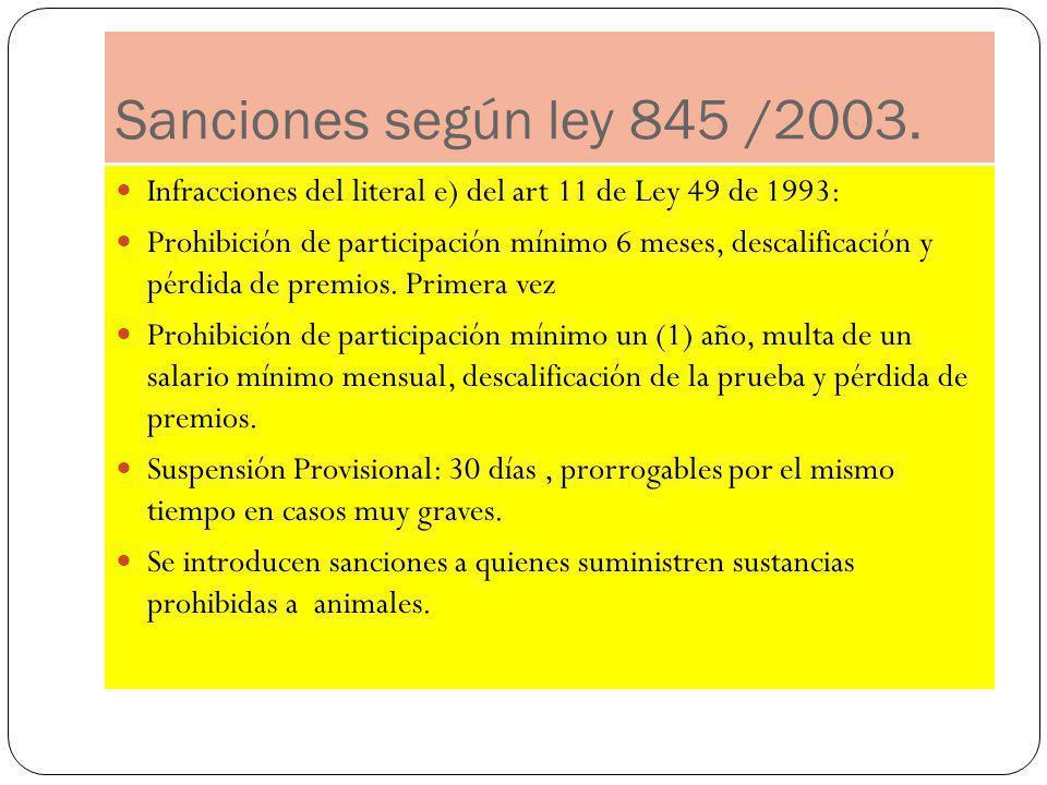 Sanciones según ley 845 /2003. Infracciones del literal e) del art 11 de Ley 49 de 1993: