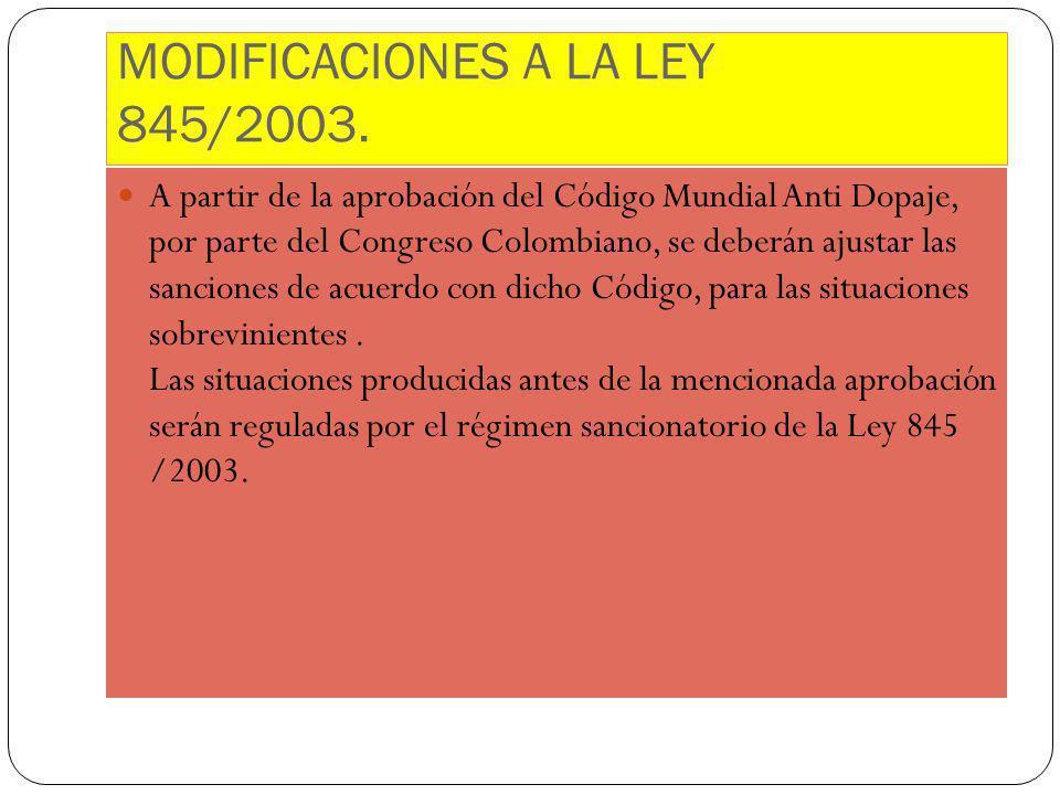 MODIFICACIONES A LA LEY 845/2003.