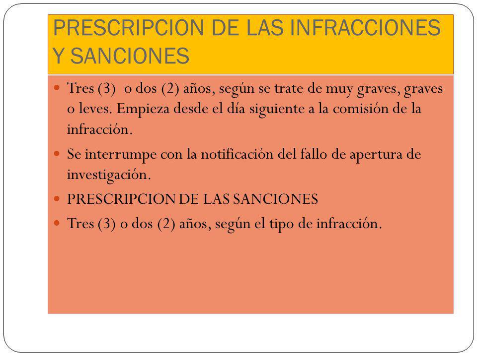 PRESCRIPCION DE LAS INFRACCIONES Y SANCIONES