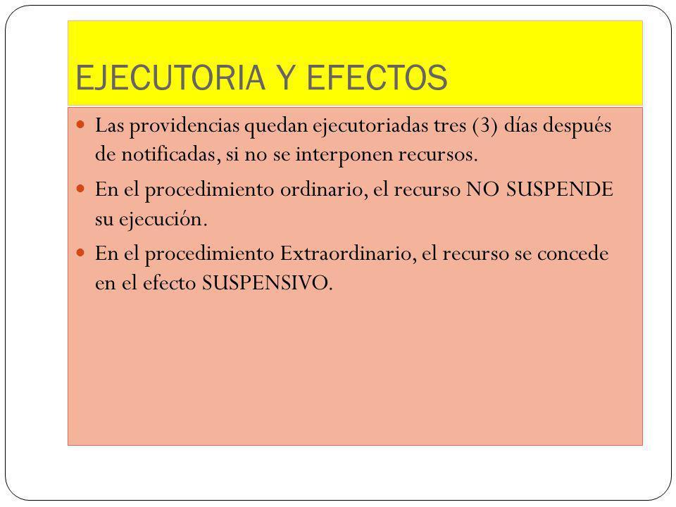 EJECUTORIA Y EFECTOS Las providencias quedan ejecutoriadas tres (3) días después de notificadas, si no se interponen recursos.