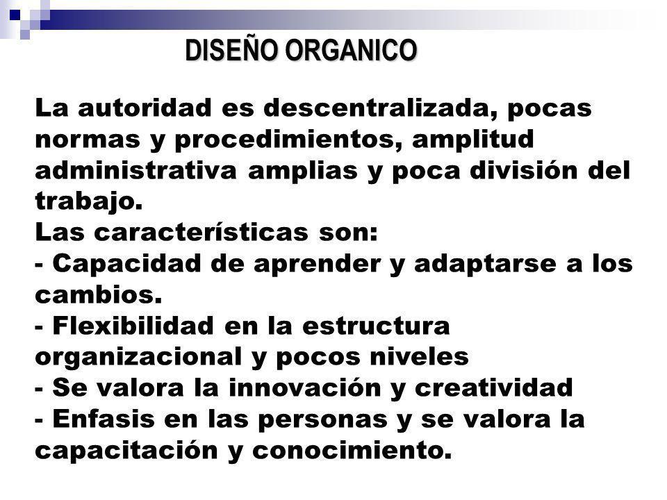DISEÑO ORGANICO La autoridad es descentralizada, pocas normas y procedimientos, amplitud administrativa amplias y poca división del trabajo.