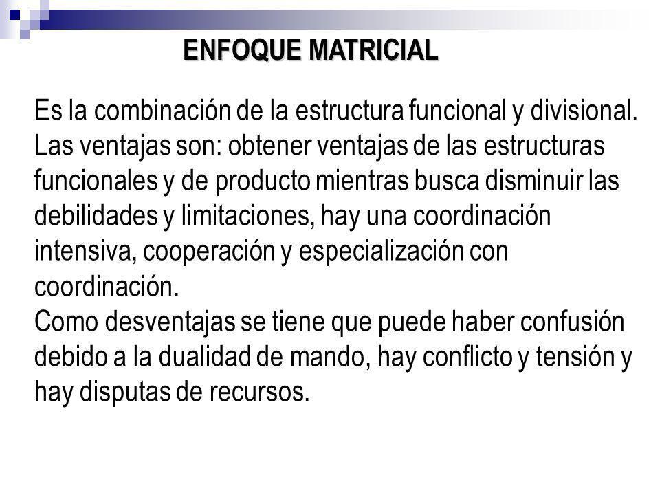 ENFOQUE MATRICIAL Es la combinación de la estructura funcional y divisional.