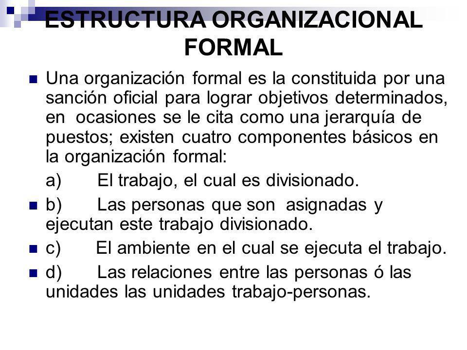 ESTRUCTURA ORGANIZACIONAL FORMAL