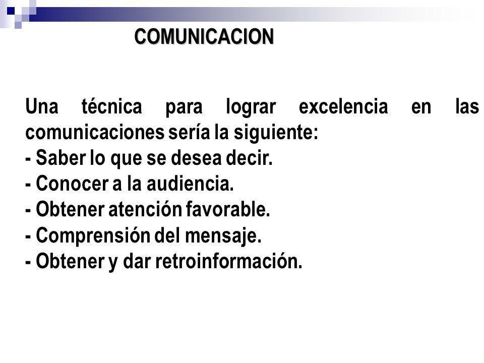 COMUNICACION Una técnica para lograr excelencia en las comunicaciones sería la siguiente: - Saber lo que se desea decir.
