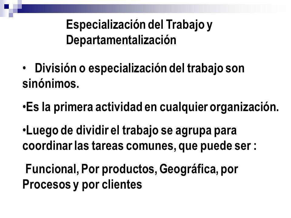 Especialización del Trabajo y Departamentalización