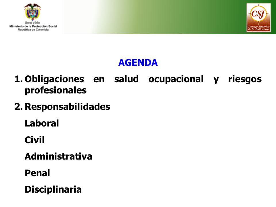 AGENDA Obligaciones en salud ocupacional y riesgos profesionales. Responsabilidades. Laboral. Civil.