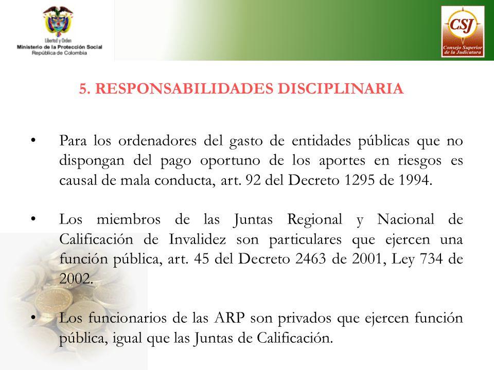 5. RESPONSABILIDADES DISCIPLINARIA