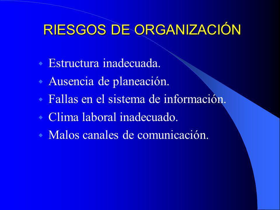 RIESGOS DE ORGANIZACIÓN