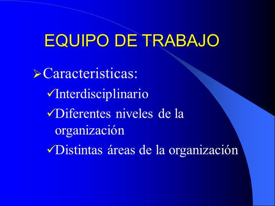 EQUIPO DE TRABAJO Caracteristicas: Interdisciplinario
