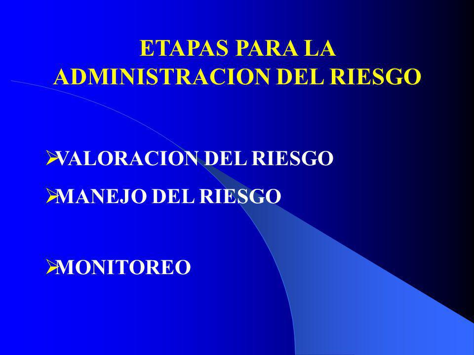 ETAPAS PARA LA ADMINISTRACION DEL RIESGO
