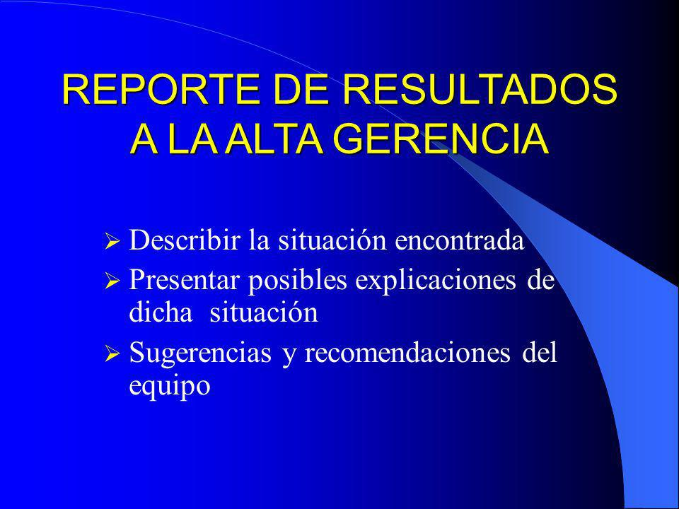REPORTE DE RESULTADOS A LA ALTA GERENCIA