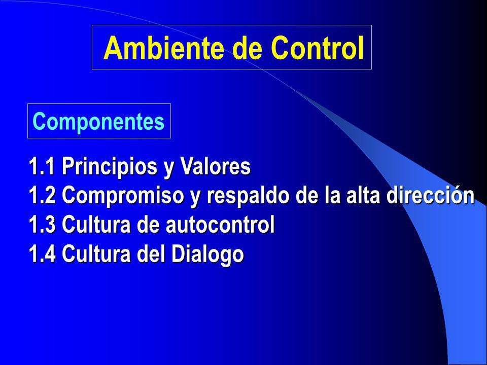 Ambiente de Control Componentes 1.1 Principios y Valores