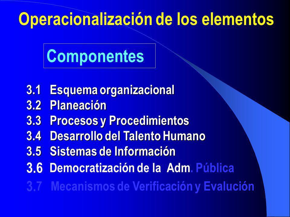 Operacionalización de los elementos
