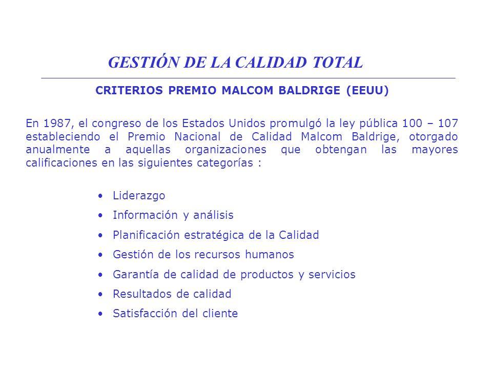 CRITERIOS PREMIO MALCOM BALDRIGE (EEUU)