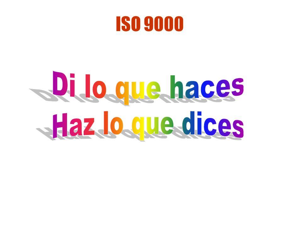 ISO 9000 Di lo que haces Haz lo que dices