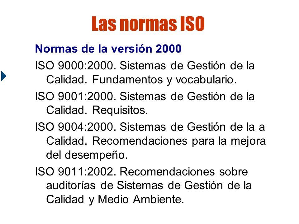 Las normas ISO Normas de la versión 2000