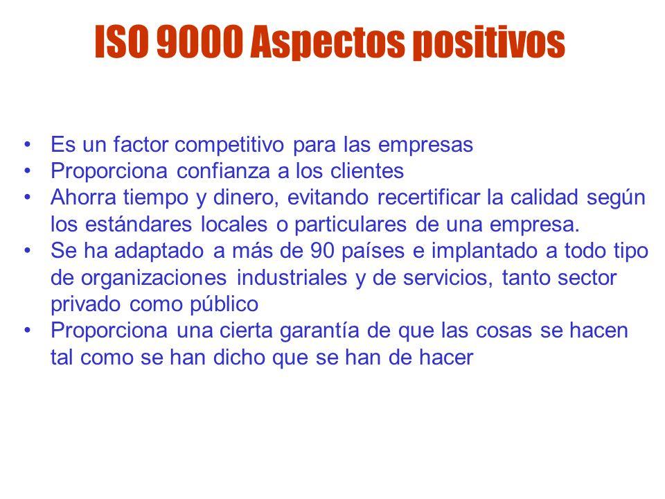 ISO 9000 Aspectos positivos