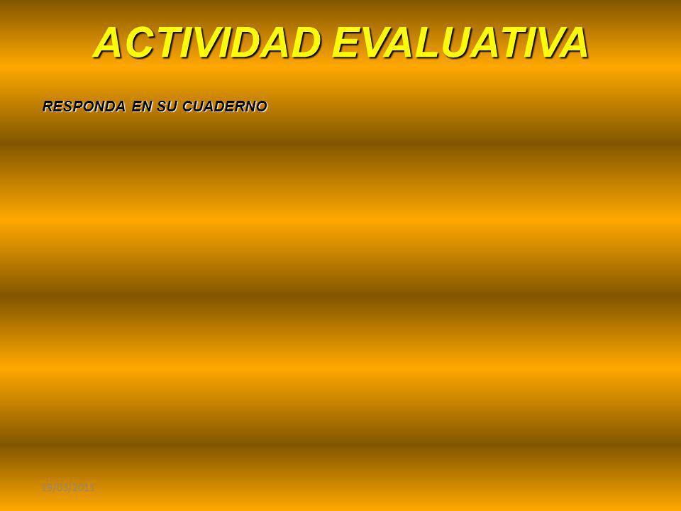 ACTIVIDAD EVALUATIVA RESPONDA EN SU CUADERNO 19/03/2011