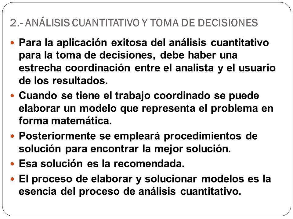 2.- ANÁLISIS CUANTITATIVO Y TOMA DE DECISIONES