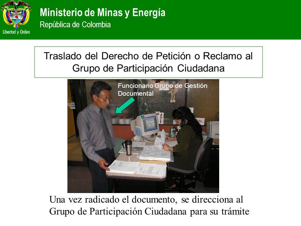 Traslado del Derecho de Petición o Reclamo al Grupo de Participación Ciudadana