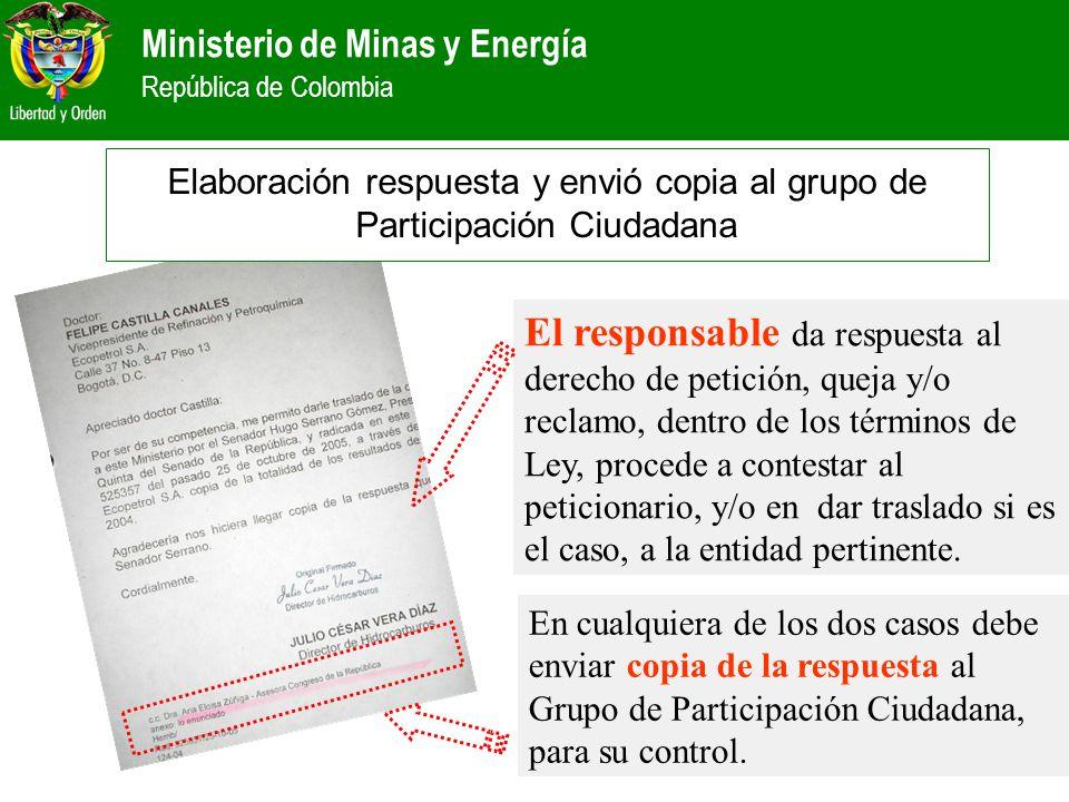 Elaboración respuesta y envió copia al grupo de Participación Ciudadana