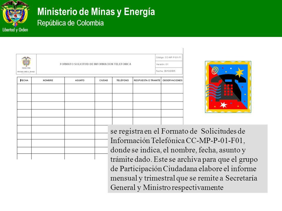 se registra en el Formato de Solicitudes de Información Telefónica CC-MP-P-01-F01, donde se indica, el nombre, fecha, asunto y trámite dado.