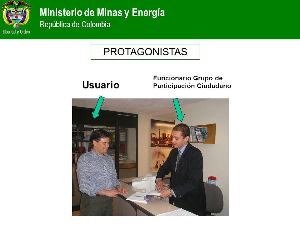 PROTAGONISTAS Funcionario Grupo de Participación Ciudadano Usuario