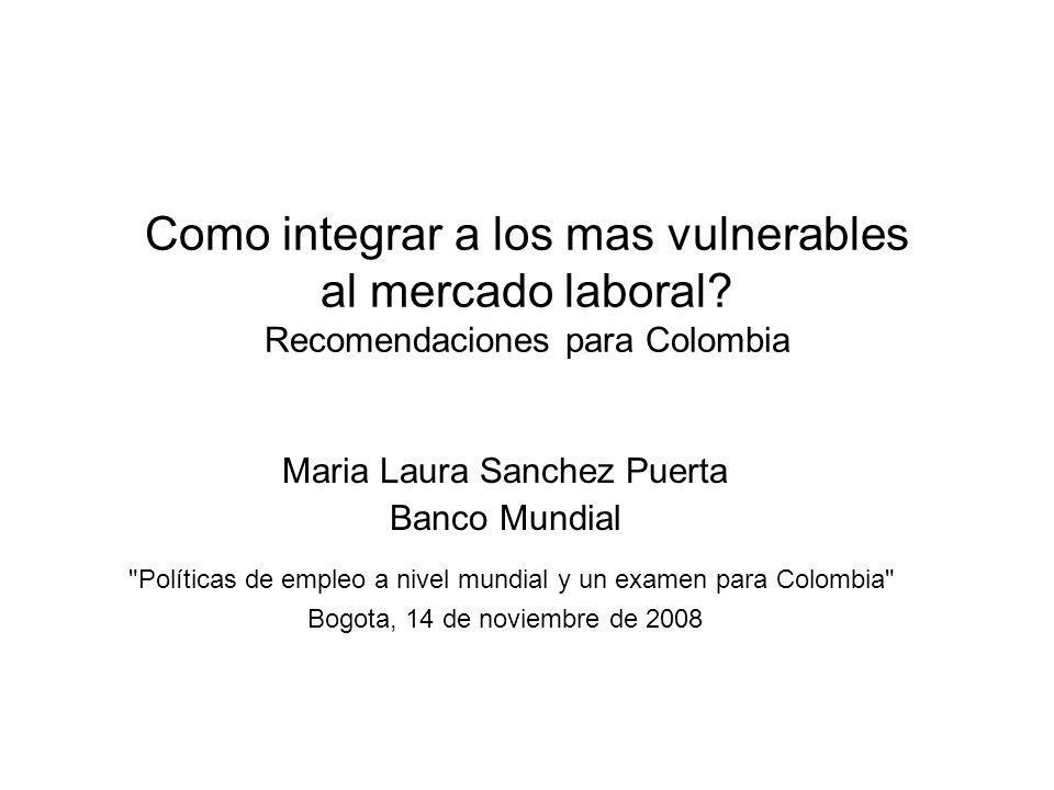 Políticas de empleo a nivel mundial y un examen para Colombia