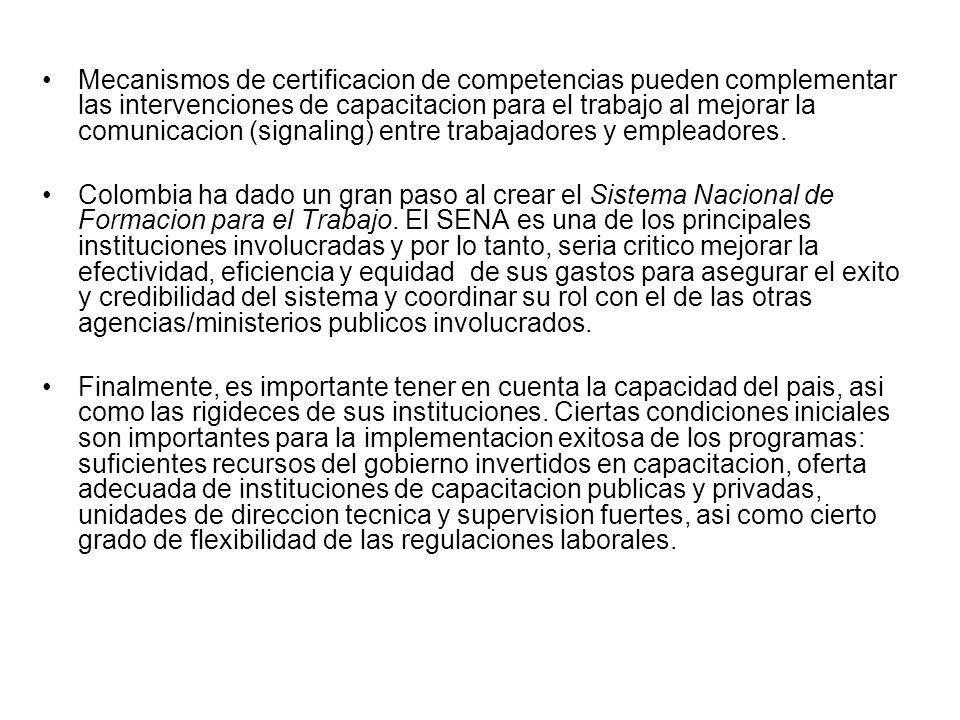 Mecanismos de certificacion de competencias pueden complementar las intervenciones de capacitacion para el trabajo al mejorar la comunicacion (signaling) entre trabajadores y empleadores.