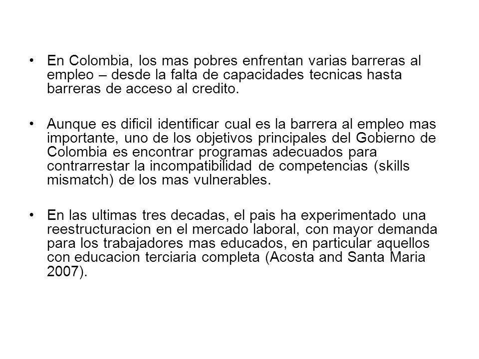 En Colombia, los mas pobres enfrentan varias barreras al empleo – desde la falta de capacidades tecnicas hasta barreras de acceso al credito.