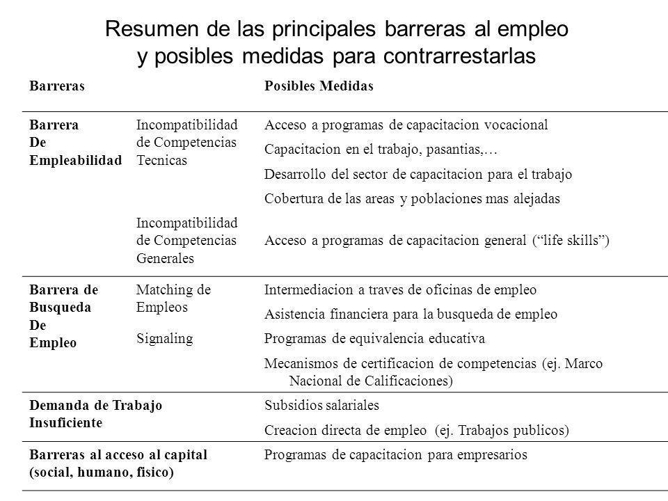 Resumen de las principales barreras al empleo