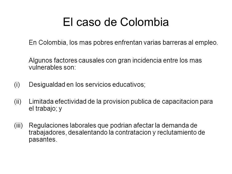 El caso de Colombia En Colombia, los mas pobres enfrentan varias barreras al empleo.