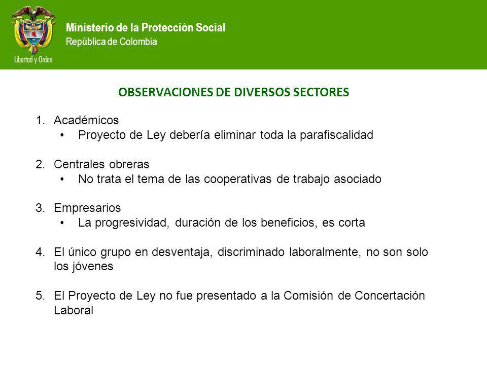 OBSERVACIONES DE DIVERSOS SECTORES