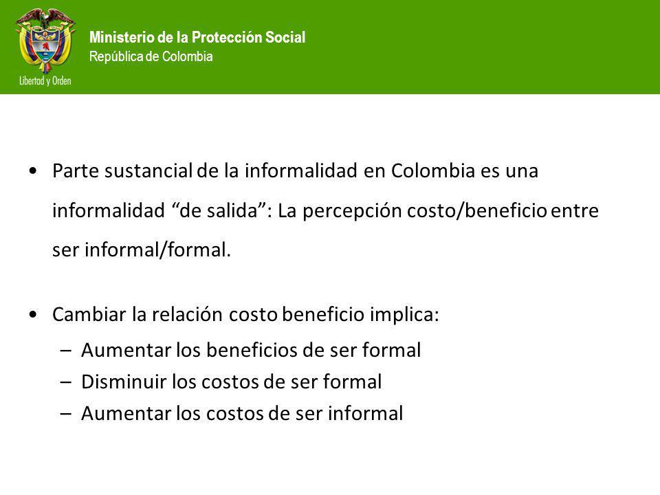 Parte sustancial de la informalidad en Colombia es una informalidad de salida : La percepción costo/beneficio entre ser informal/formal.