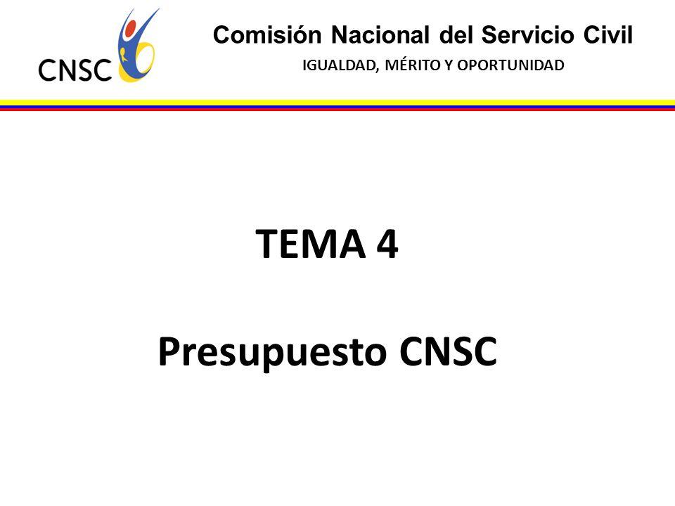 TEMA 4 Presupuesto CNSC Comisión Nacional del Servicio Civil