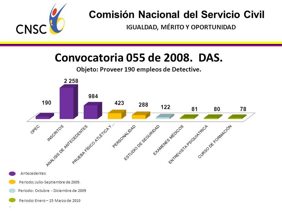Objeto: Proveer 190 empleos de Detective.