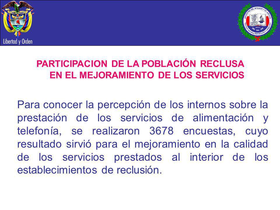 PARTICIPACION DE LA POBLACIÓN RECLUSA EN EL MEJORAMIENTO DE LOS SERVICIOS