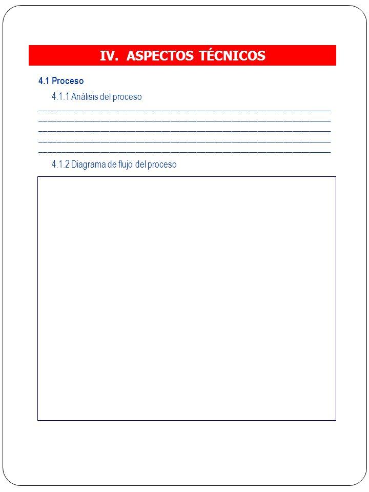 IV. ASPECTOS TÉCNICOS 4.1 Proceso 4.1.1 Análisis del proceso