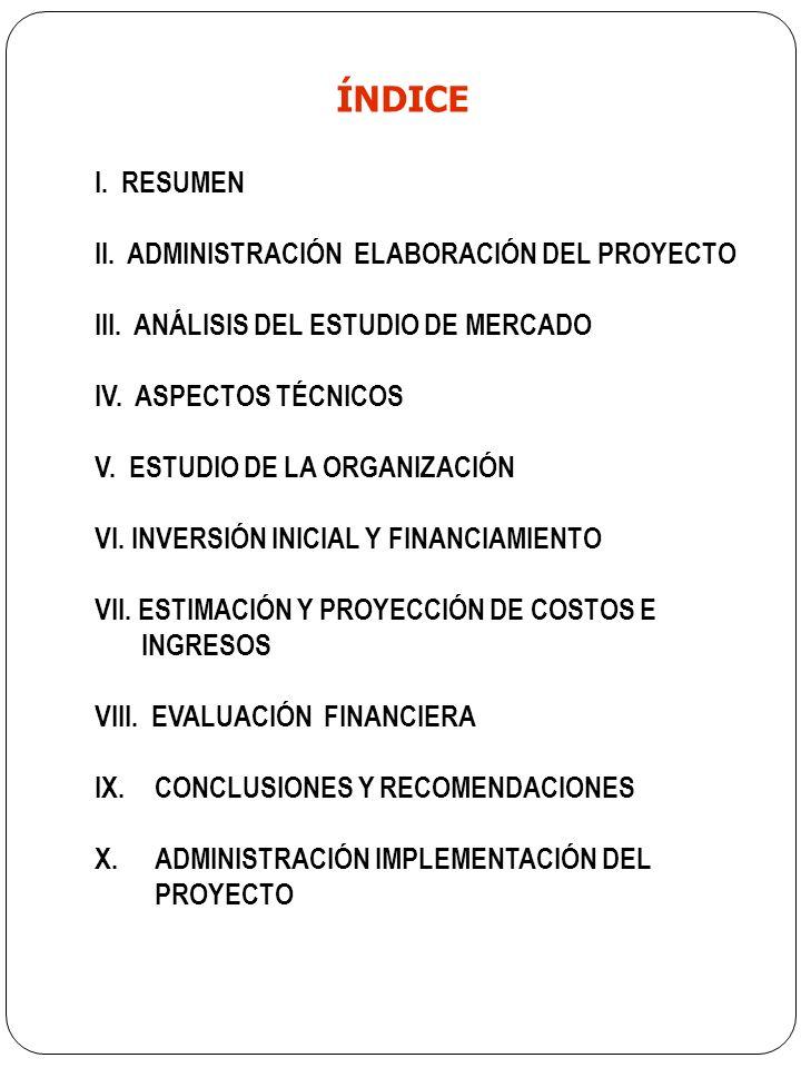 ÍNDICE I. RESUMEN II. ADMINISTRACIÓN ELABORACIÓN DEL PROYECTO